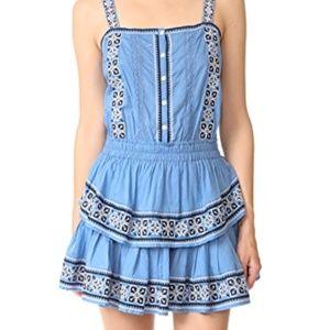 LoveShackFancy Anna Dress Blue Embroidered Mini